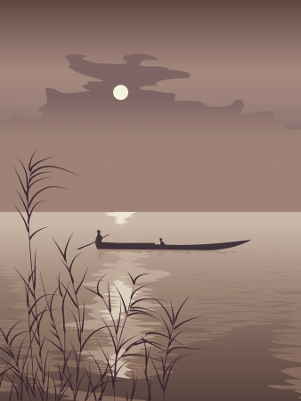 Vector illustration boat on lake against the Moon in brown tone with the Asian motive. Stock Vector - 16170027