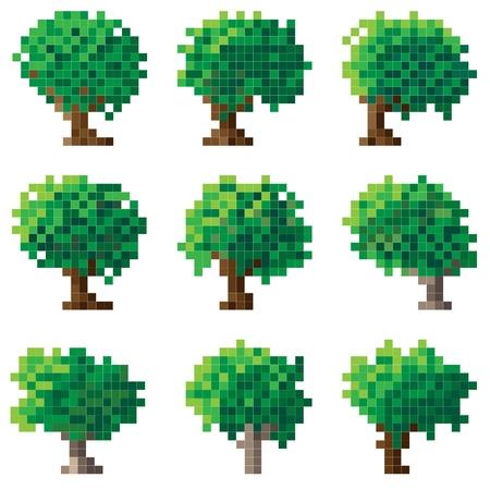 Set of simple green pixel tree(16x16 cells). Vetores