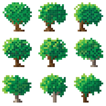 Set of simple green pixel tree(16x16 cells). Vector