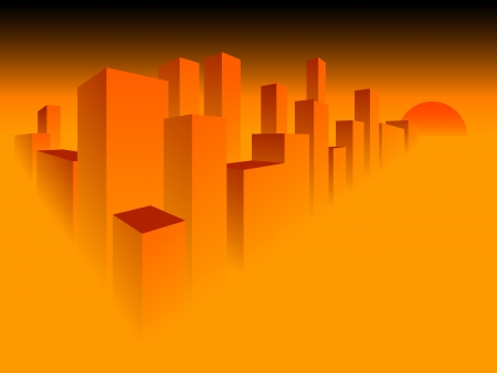 Abstract big city against the coming sun. Vector