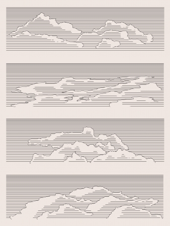 Clouds drawn in vintage style. Stock Vector - 16271281