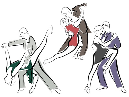 waltzing: Sketches of dancing couples in line style.