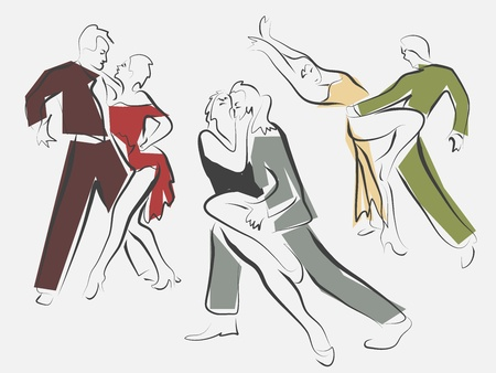 Sketches of dancing couples in line style. Vector
