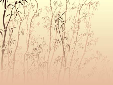 traditionally: Horizontal vector background with many bamboo trees from mist in asian style.