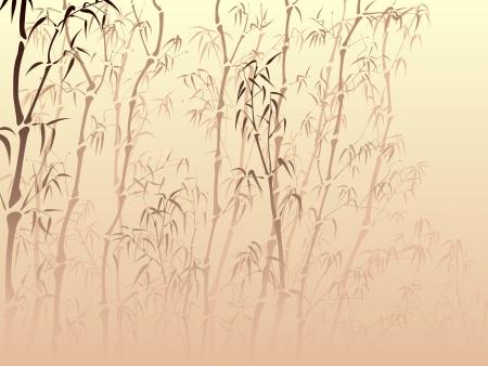 Horizontale vector achtergrond met veel bamboe bomen van mist in Aziatische stijl. Stockfoto - 16271284