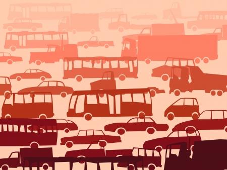 entrada da garagem: Vector fundo abstrato dos desenhos animados com muitos carros no trânsito na hora do rush