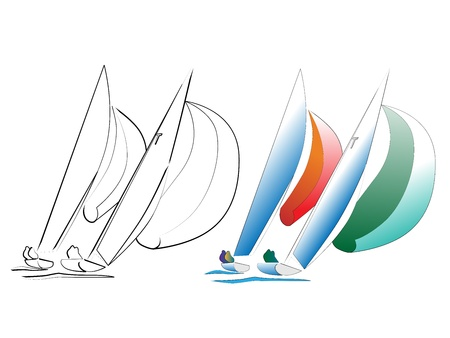 inflate boat: Simple vector, icon of two Sailing ships against the sun
