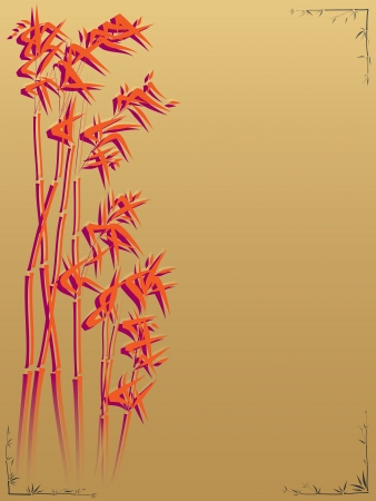 traditionally chinese: Bamboo on a gold background in the Asian style