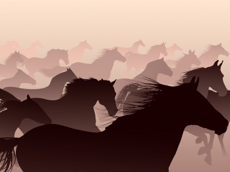 Herd of horses skipping in a smoke  Vector