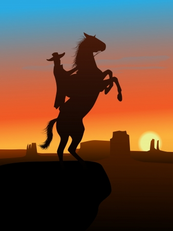 cowboy silhouette: The hero of the wild West leaves in a decline