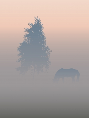 Landscape  A tree and a horse in a morning fog  Ilustrace