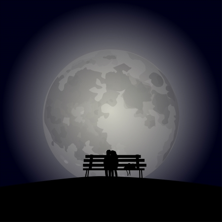 the enamoured: Enamoured couple on a bench against the full moon.