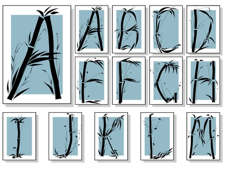 Bamboo alphabet font in asian style in frame(Part 1). Vector