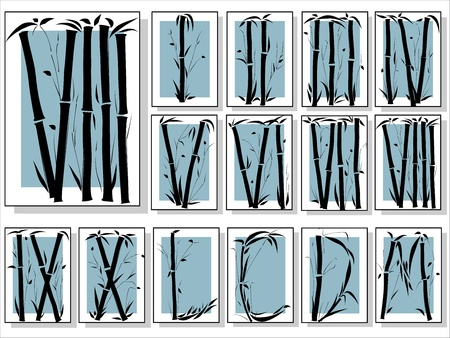 numeros romanos: Alfabeto Bamboo (números romanos) de la fuente en estilo asiático en bastidor (Parte 3). Vectores