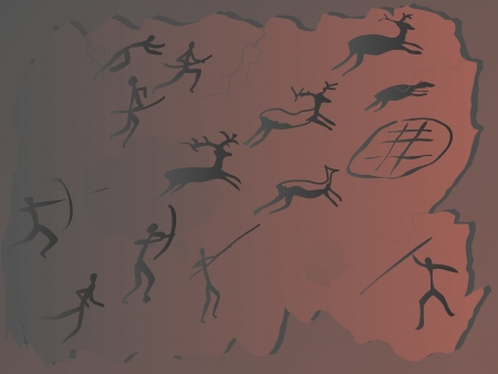 cave painting: Pintura rupestre de cazadores de ciervos.