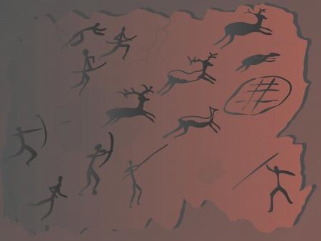 Rock painting of hunters on deer. Stock Vector - 16272072