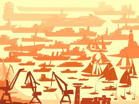 abstract background of big harbor with many different ships. Vector