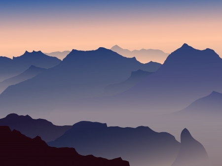 High mountains in a morning fog. Vector