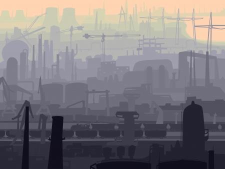 edificio industrial: resumen de antecedentes de parte industrial de la ciudad con molinos, f�bricas, chimeneas en la ma�ana.