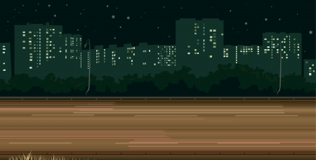 horizontal illustration part of  highway with traces from headlights of cars on background of night city buildings  Vector