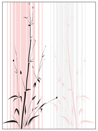 traditionally chinese:  Bamboo in the Asian style drawn by ink in frame