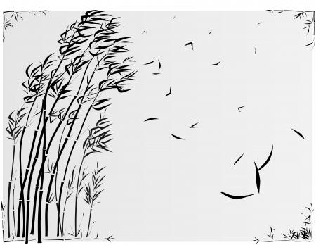 Bamboo nella tempesta in stile asiatico disegnato da inchiostro nel telaio.