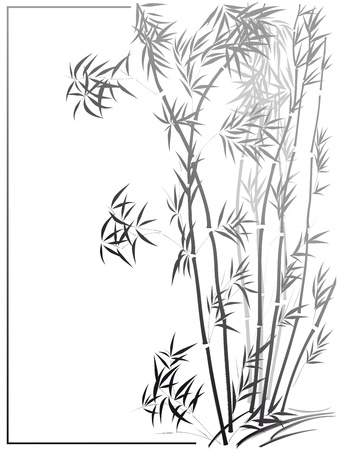 Bamboo in the Asian style drawn by ink in frame. Vector