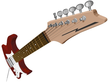 Vector illustration of red electric guitar at an acute angle.