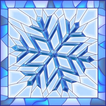 Vector illustratie van sneeuwvlok glas in lood raam met frame. Stockfoto - 16565461