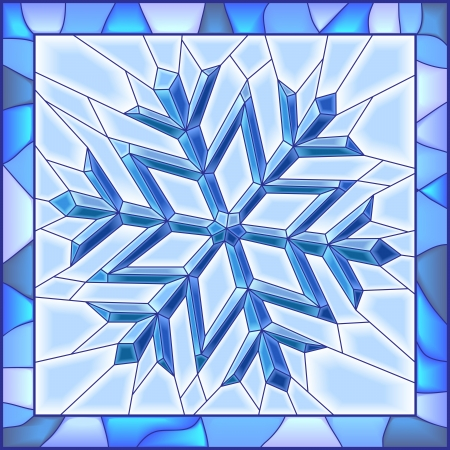 stained glass: Vector illustration of snowflake stained glass window with frame.