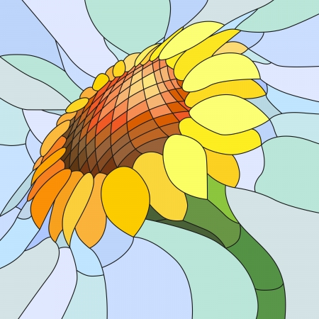 Vector mosaic with large cells of yellow sunflower on light blue. Vector