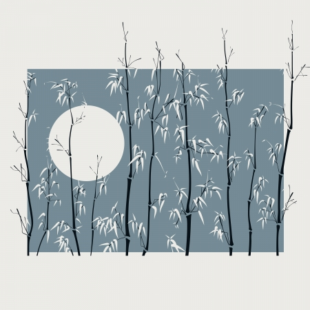 Square illustration with many bamboo plants with Moon in asian style in wide light frame. Vector