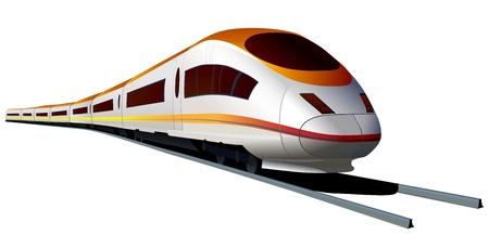locomotora: Vector aislada de tren moderno de alta velocidad Vectores