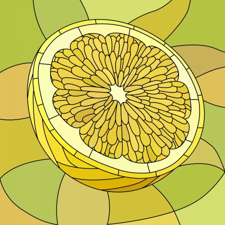 Vector mosaic with large cells of yellow lemon on light green. Vector