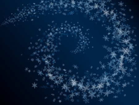 snowstorm: Vector abstract background of snowflakes spiral snowstorm in dark blue night (16 different types of snowflakes).