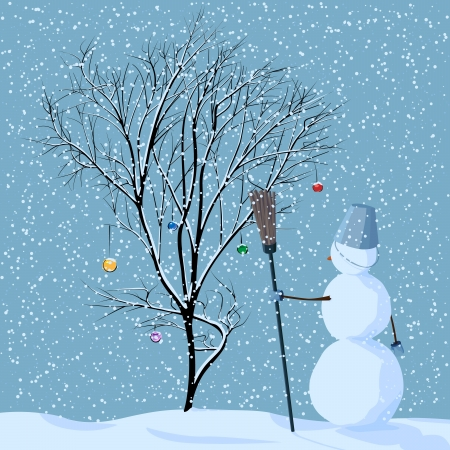 coldness: Vector illustration of lonely snowman near tree in snow with Christmas balls under snowfall.