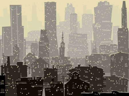 Abstract illustration of big city with snowy roofs, windows and skyscrapers in winter.