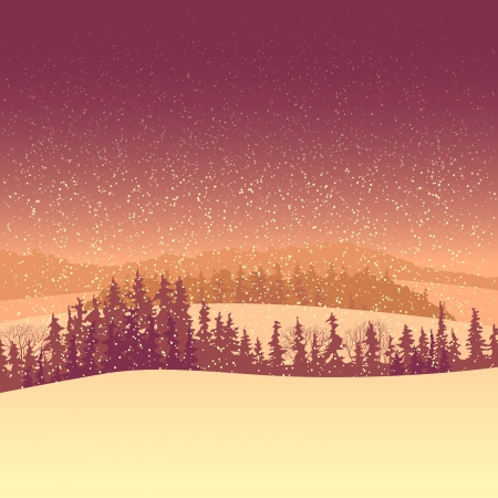 illustration of snowy coniferous forest valley with morning snowfall. Stock Vector - 16726190