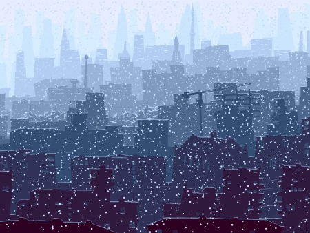view window: Vector abstract illustration of big city with snowy roofs, windows and skyscrapers in winter.