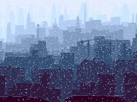 vista ventana: Vector resumen ilustraci�n de una gran ciudad con tejados nevados, ventanas y rascacielos en invierno.