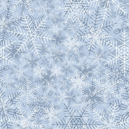 coldness: Seamless background of winter snowfall (10 different types of snowflakes).