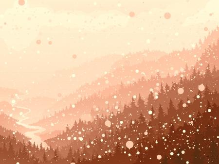 coniferous forest: Ilustraci�n vectorial de salvaje bosque de con�feras con el r�o en la nieve de la ma�ana Vectores