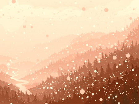 for�t r�sineux: Vector illustration de la nature des for�ts de conif�res avec rivi�re dans la neige le matin Illustration