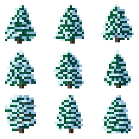 Set of simple pixel coniferous tree with snow on branches (spruce, pine)(square cells). Stock Vector - 16911746