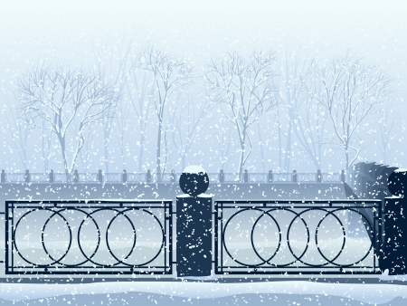 canal: Illustration of snowfall in park with the river canal and bridge, fence
