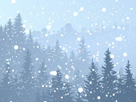 Illustratie van wilde naaldbos met sneeuwval in blauw toon. Stockfoto - 16953882