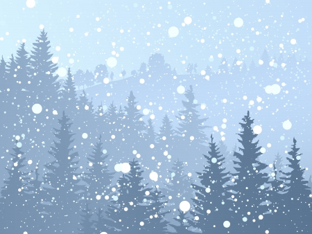 illustration of wild coniferous forest with snowfall in blue tone.