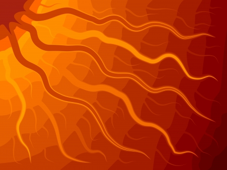 abstractive: Vector abstract illustration of Sun with wavy rays in orange tone. Illustration