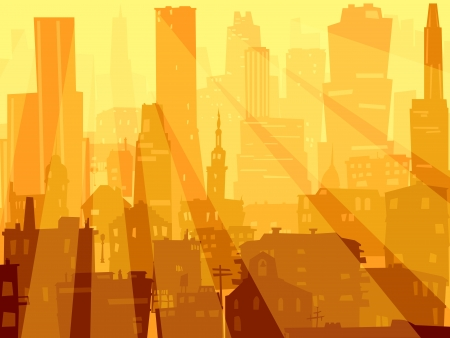 Vector abstract background of big city with roofs, windows and rays of sun through skyscrapers. Vector