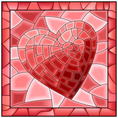 window light: illustration of heart symbol of love stained glass window with frame.